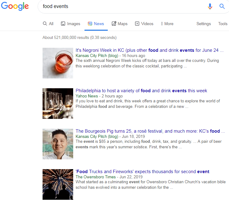 food events news search google