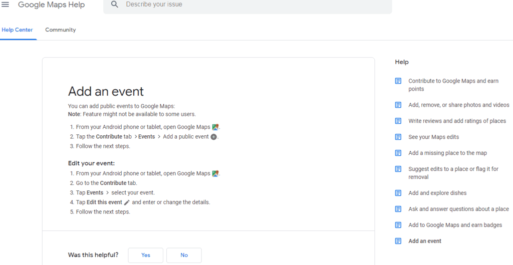 how to add en event to google