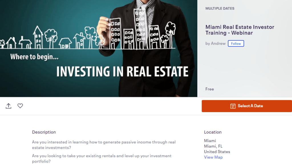 investing in real estate webinar on eventbrite.com